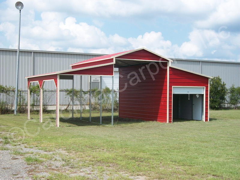 Carolina Barn with One Fully Enclosed Lean Too