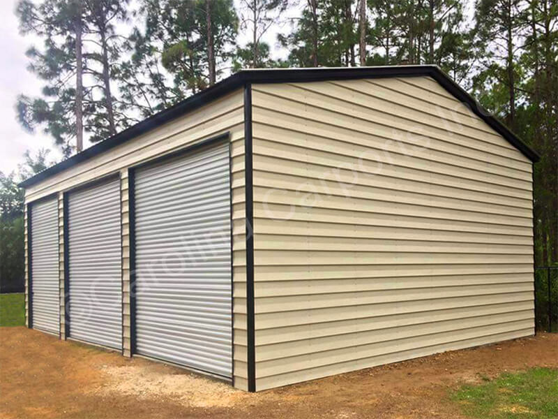 Vertical Roof Triple Wide Lap Sided Building